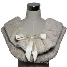 Lady Fashion Polyester Faux Fur Knitted Scarf Shawl (YKY4369)