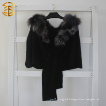 2015 Fashion Top Quality Women Genuine Silver Fox Fur Collar Wool Knitted Black Fur Shawl