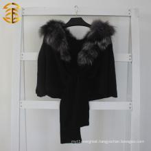 2015 Fashion Top Quality Women Genuine Silver Fox Fur Collar Wool Knitted Black Fur Shawl