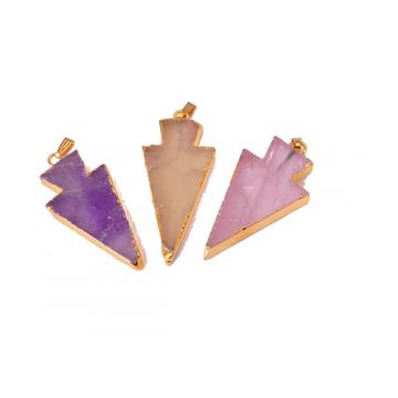 Gilding 18K Natural Gemstone Crystal Jewelry Arrow Pendant