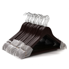 20 Pack High Grade 17.5 Inch Wood Suit Hangers With Non Slip Pant Bar