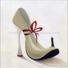 Абстрактные Высокие каблуки масляной живописи на холсте для декора
