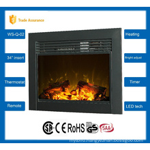 "34"" classic insert electric fireplace with polystone mantel"