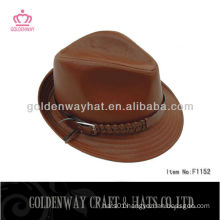 Brown leather fedora hat