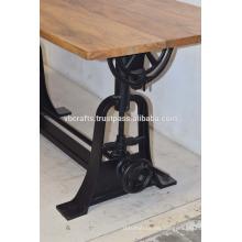 Mesa industrial de manivela Mesa rectangular de madera de mango