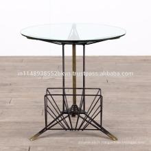 Table de bord industrielle en métal classique en verre rond
