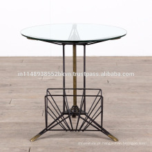 Industrial Vintage Metal Glass Round Small Side Table