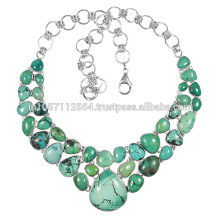 925 Sterling Silver & Tibetan Turquoise Gemstone Vintage Handmade Design Necklace