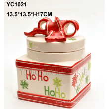 Hand-Painted Christmas Cookie Jar