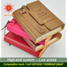 Caderno feito sob encomenda barato do couro do plutônio da qualidade superior, diário de couro elegante do plutônio, livro de nota de couro feito sob encomenda