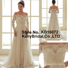 Boat neckline long sleeves hand made flower wedding gown