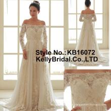 Vestido de noiva com decote de manga comprida feito à mão vestido de casamento de flores