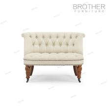 Nuevo diseño de la tela silla acento cubierto 2 plazas sofá con ruedas