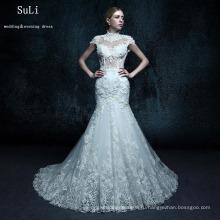 ZXB24 Русалка высокая шея спинки бисером длина пола кружева свадебное платье 2015