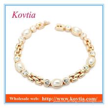 Hohe Art und Weise kein moq Kristall und Perlenarmband 2015 Produkte wholesale neue Goldarmbandentwürfe