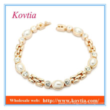 High fashion no moq crystal and pearl bracelet 2015 products wholesale new gold bracelet designs