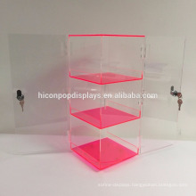 Commercial Double Door Lockable 3-Layer Clear Neon Red Acrylic Rotating Display Tower Showcase
