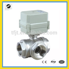 "AC220V voltage 3-way T flow stainless steel 304 motor 1"" ball valve with position indicator and siganl feedback function"