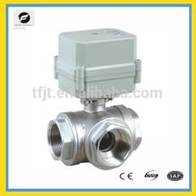 """Tensão AC220V 3 vias T fluxo aço inoxidável 304 motor Válvula esférica de 1 """"com indicador de posição e função de retorno siganl"""