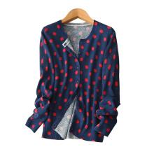 Чистый кашемир вязание кардиган для женщин с красочные круглые пятна декор красный/синий однобортный кардиган свитера