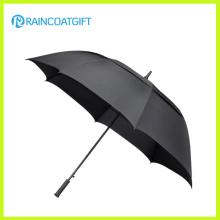Guarda-chuva longo do golfe do preto do quadro da fibra de vidro da única camada de 30 polegadas