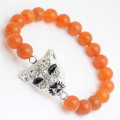 Red Aventurine Gemstone Bracelet with Diamante alloy leopard head Piece