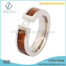 Mens Titan Holz Hochzeit Daumen Ring, Silber Titan Ring mit Holz Inlay