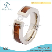Mens titânio anel de madeira do polegar do casamento, anel de titânio de prata com inlay de madeira