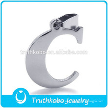 L-P0041 Lovely Silver Stainless Steel Initial Alphabet Letter C Charm Pendant Fit Necklace