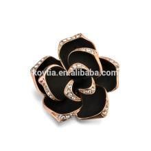2016 broche de broche de moda broche de rosa preta handmade com cristal para o vestido