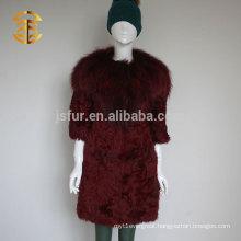 Lastest Design Ladies Winter Red Wine Raccoon Fur Collar And Lamb Long Fur Coat