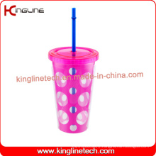 500ml double wall straw cup(KL-SC118)