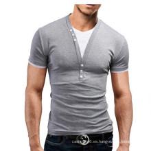 Nueva camiseta para hombre de verano con cuello en V de algodón