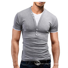 New Man′s T Shirt for Summer V Neck Cotton Garment