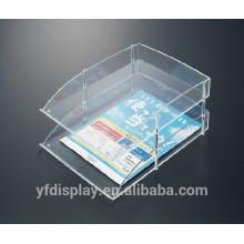 Organisateur de fichier acrylique clair de conception simple de deux rangées