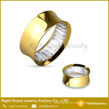 Gold Titanium Plated Surgical Steel Square Cut Gem Inlayed Double Flared Tunnel