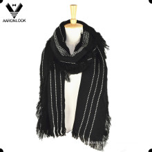 2016 Lady′s Fashion Checked Raw Edge Scarf