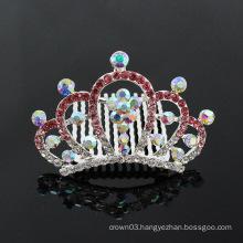 Kids rhinestone mini crown Wholesale hair comb