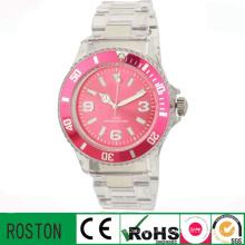 Customer Design Quartz Movement Plastic Transparent Watch