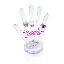 Suporte de tela acrílica criativa para anéis, Display transparente Perspex