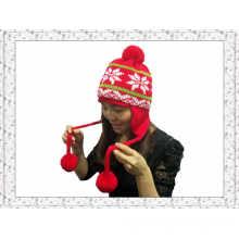 Chapeau de bonnet tricoté d'hiver de caractère chinois avec boules de pompon pour filles (1-3505)