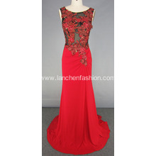 Illusion Beading Celebrity Style Long Evening Dress