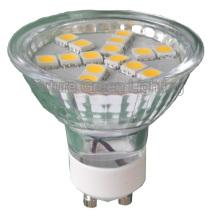 GU10 LED ligero (15SMD 5050 con la cubierta de cristal)
