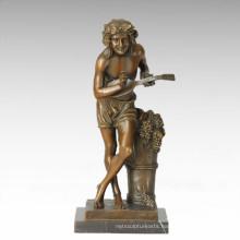 Dancer Figure Statue Village Violinist Bronze Sculpture TPE-385