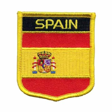 Custom Spain Flag Shield Broderi Patches With PVC