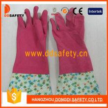Guantes de hogar de látex de látex rosado para el hogar (DHL710)
