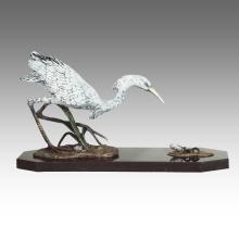 Animal Statue oiseau aigrette décoration Bronze Sculpture Tpal-267