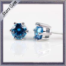 Moda 3.0 mm brillante pendiente azul joyería en Stering Silver