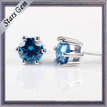 Fashion 3.0mm Shining Blue Earring Jewelry in Stering Silver