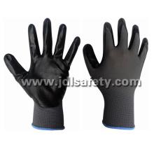 Grauen Nylon gestrickte Handschuhe mit schwarze glatte Nitril Beschichtung (N1551B) arbeiten
